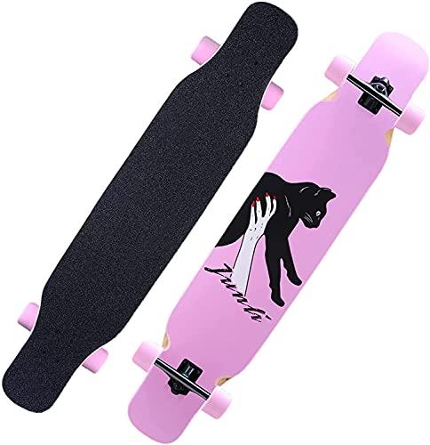 TYSJL Principiante Niños para Adultos Girls Tablero de Baile Adulto Juvenil Profesional Travel Skateboard Scooter de Cuatro Ruedas, Gato Rosado, 118cm / 42in (Color : Pink Cat, Size : 118cm/42in)