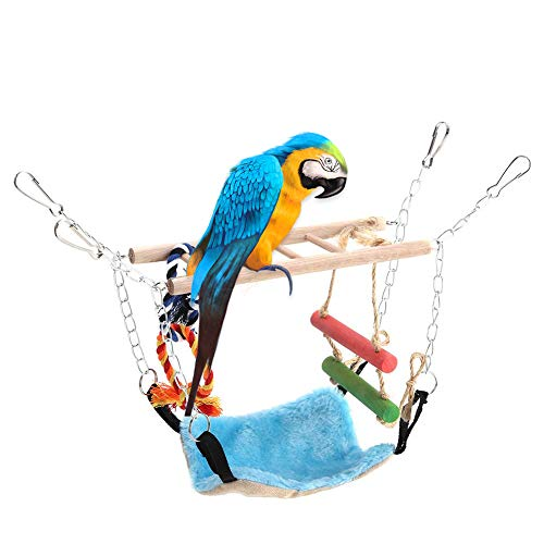HEEPDD Bird Toy Set, Wood Ladder Winter Warm Hammock Swing Rope Hanging Net Cage for Small Animal Ferret Parrot Rat Hamster