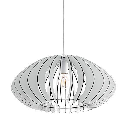 EGLO Lámpara colgante de madera Cossano, 1 lámpara de techo moderna de madera y acero, color: blanco, casquillo: E27, diámetro: 50 cm, ellipse