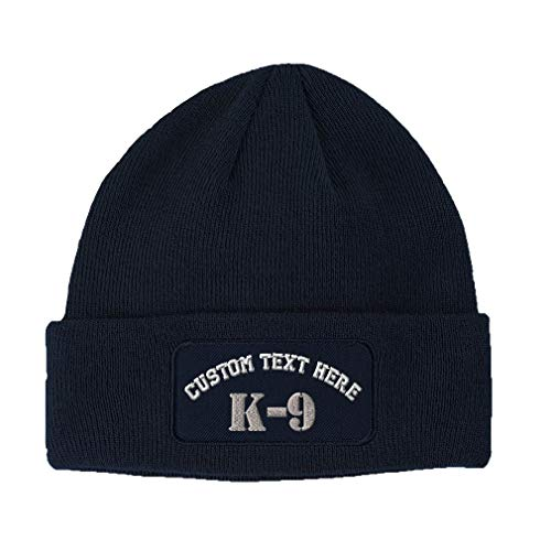Custom Text Embroidered K-9 Silver Logo Unisex Adult Acrylic Double Layer Patch Beanie Skully Hat - Navy, One Size