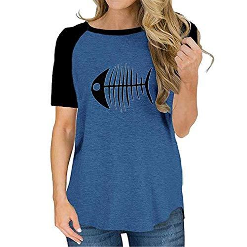 x8jdieu3 Summer Round Neck Meow Bedruckte Kurzarm-Collage Casual T-Shirt Kurzarm-Tops