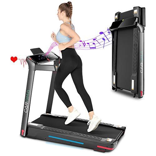 Faltbares elektrisches Laufband mit Bluetooth-Lautsprecher, motorisiertem 7-Farben-LED-Streifen-Fitnessgerät für das Heim-Fitnessstudio, Cardio-Training, Sicherheitsschlüssel, Herzsensor