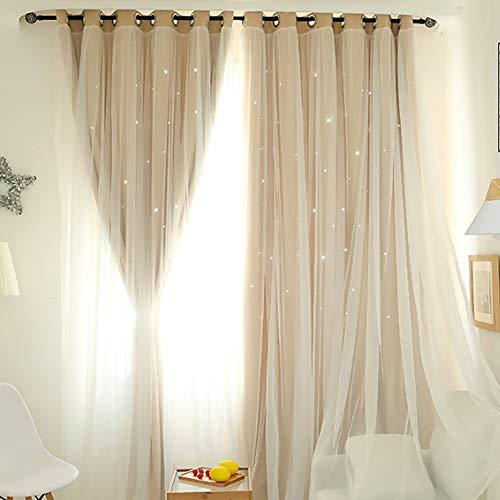 "Double Layer Window Curtain Blackout Floor-Standing Curtains Star Hollow Curtain Drape High Shading Window Treatment, 39.37""x78.74"""