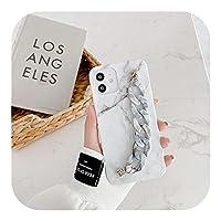 トレンディ レトロマーブルテクスチャブレスレットFor iPhoneケース1211 Pro Max XR XS 7 8 PlusSE2ブラックホワイトリストチェーンソフトシリコンカバー-White-For iPhone XS