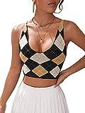 Romwe Women's Argyle Print Sleeveless Criss Cross Back Scoop Neck Crop Tank Tops Multicolor S