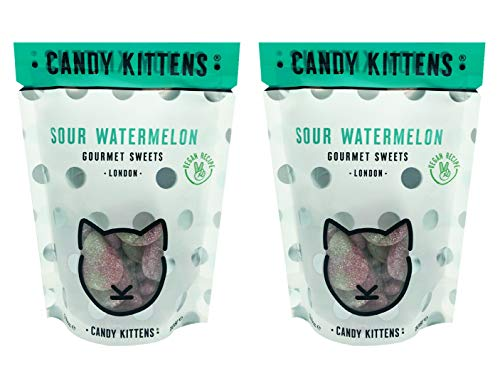 Candy Kittens Gourmet Sweets Gluten Free Gummy Candy Pack 3.8oz, 2 Pack (Sour Watermelon)