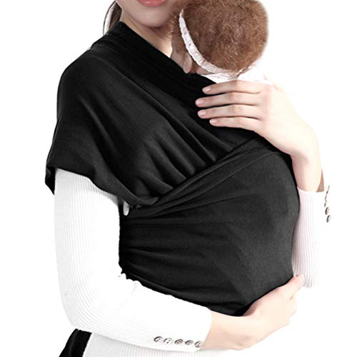 WOWOSS Tragetuch Baby, Babytragetuch Neugeborene, elastisches Baumwolle Sling - mit großen Vordertasche schwarz