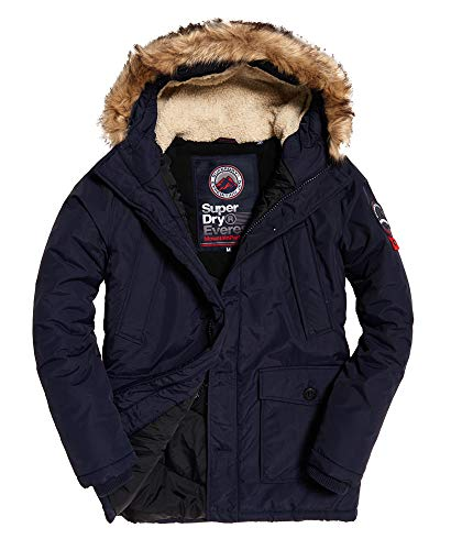 Superdry Herren Everest Parka Jacke, Blau, Large
