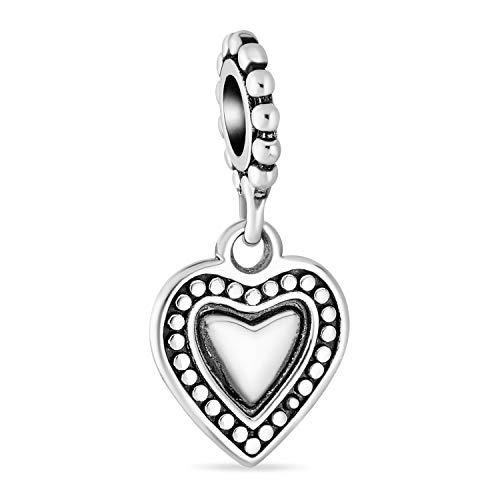 Vintage estilo personalizado regalo colgante corazón inicial encanto cuenta para las mujeres para adolescente sólido .925 plata de ley se adapta a la pulsera europea