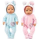 WENTS Vestiti per Bambole 2 Pezzi Tuta Abiti Vestiti Accessori per Bambola 43 CM/18 Pollice Tuta American Girl (Blu/Rosa)