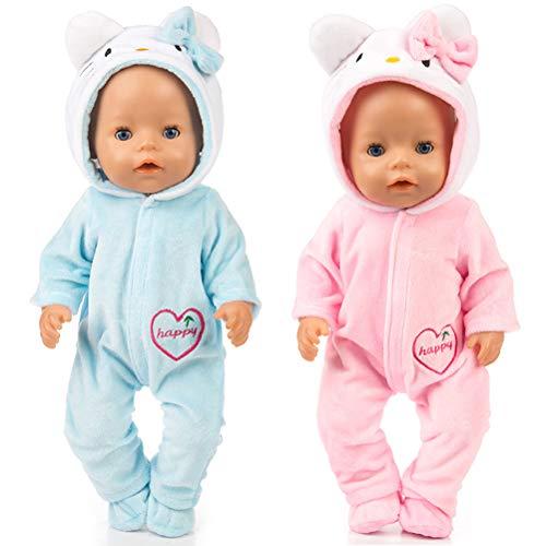 WENTS Bebé Ropa de la muñeca Disfraz de Bebe Baby Born Onesie Pelele de muñeca Ropa de Bebe para Muñecas de Bebé en Tamaño18 (Rosado/Azul)