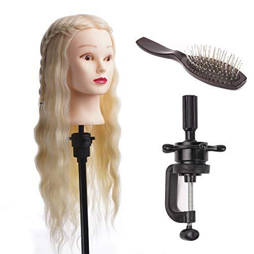 DUKWIN 22 Pouce Tête à coiffer 80% Cheveux Naturel Vrai Cheveux Humains Mannequin Tête Formation Coiffure avec Support et Peigne en acier Platine 55CM