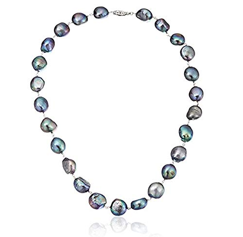 La Regis Jewelry Sterling Silver 11-11.5mm Dyed-Black Baroque Cultured Freshwater Pearl Strand Necklacae, 18'