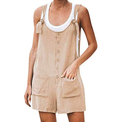 Mono de verano para mujer, holgado, sin mangas, con botones, con tirantes, pantalones cortos Verde caqui XL