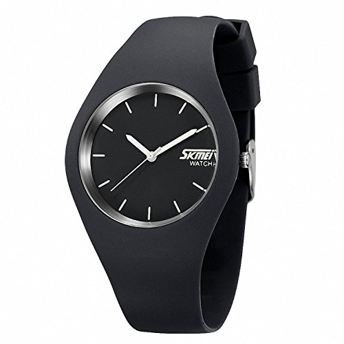 Gosasa Casual Simple Style Silicone Strap Unisex Sports Watches 30M Waterproof (Grey)