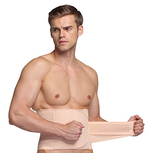 Quadruped Crab Waist Tummy Trimmer Cincher Girdle Slimming Belt,Sweat Band Body Shaper Wrap Waistband Belly Burn Fat Breathable,Men Abdomen White M
