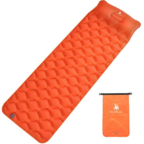 HUI LINGYANG Ultralight Air Sleeping Pad - Best Inflatable Mat for Camping,Backpacking and Traveling-Lightweight & Compact Air Mattress (Orange)