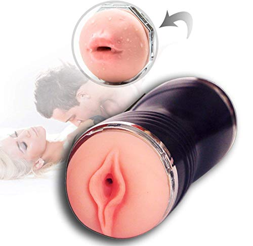Male Masturbators Cup,Oral Cup make love cup Adult Sex Toys sex Sucking 3D Realistic Textured Vagina Double end man masturbation artifact Waterproof (Black)