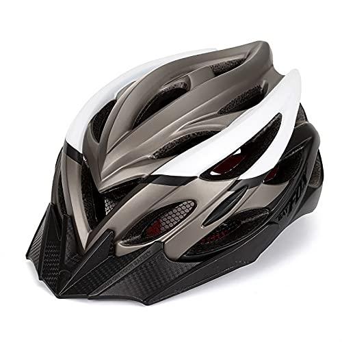 G&F Casco Bicicleta para Adultos Carretera Montaña con Visera Solar Luz Trasera LED Casco Ciclismo para Hombres Mujeres (Color : D, Size : 56-59)