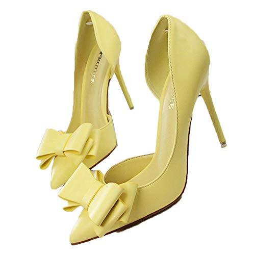 Zapatos Primavera Verano Mujer Bombas Stiletto Bow Tacones Altos Zapatos de Oficina de Cuero Bombas clásicas Mujer Punta Puntiaguda Boca Baja