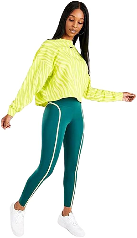 Nike Women's Plus Size Sportswear Icon Clash Animal Print Sweatshirt Size 1X Yellow/Green