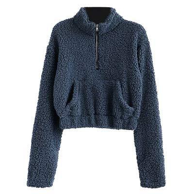 Smccvnvbv dames trui met lange mouwen pluche verdikte voorkant rits grote zak korte trui