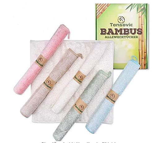 Tonsovic Premium Bambus Tücher 6 Set - perfekt geeignet für die Küche und zum Fenster Putzen - Wiederverwendbare Kristall klare Reinigungstücher sowie Lappen - idealer Partner nach dem Geschirr Spülen