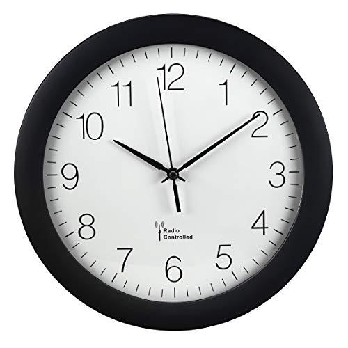 Hama Wanduhr Funk (30cm große Küchenuhr, leise Funkuhr mit großem Ziffernblatt, analoge Wohnzimmeruhr inkl. Batterie) schwarz