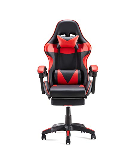 Sunon Gaming Chair Adjustable Seat Height Ergonomic Chair with Headrest and Massager Lumbar Support Retractable Footrest PVC Leather Gaming Chair for PC(Medium Size,Black & Red)