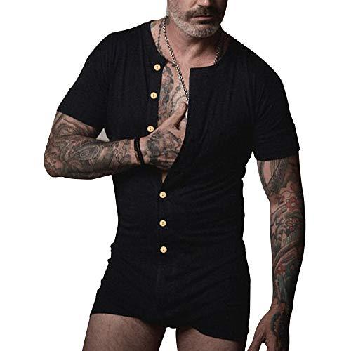 Muscle Alive Herren Unterwäsche Kurzarm Strampler Overall Henley Jumpsuit Stretchy Cotton Ramper
