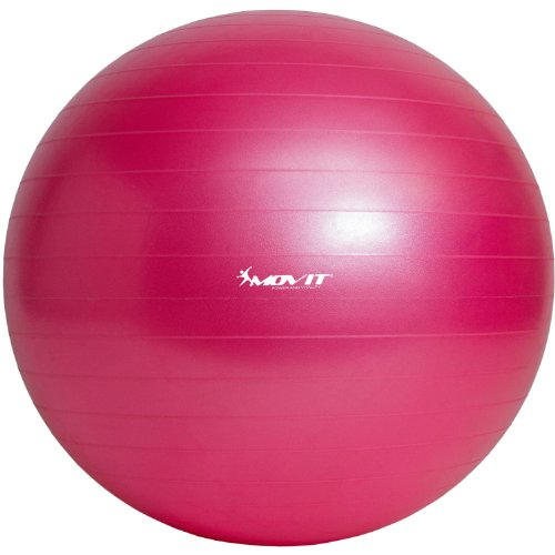 Movit Ballon de Gymnastique »Dynamic Ball« Pompe à Pied Incluse Swiss Ball Boule de siège Anti Burst 85 cm Rose