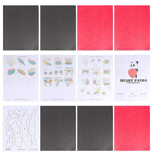 TOYANDONA 3D Origami Paper Papercraft Kit de Construcción Animal Panda Corazón Adorno Diy Toy para Niños Niño Origami Paper (Card Paper)
