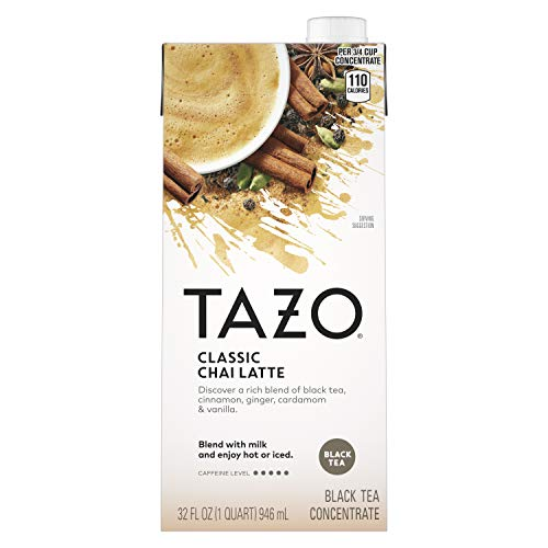 Tazo Classic Chai Latte Concentrate For a Smooth Chai Latte Black Tea High Caffeine Level 32 oz