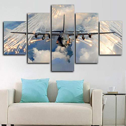 Axqisqx Lockheed C-130 Hercules vliegtuig poster 5 st. Canvasdruk muurkunst decor 30x40cmx2pcs 30x60cmx2pcs 30x80cmx1pcs