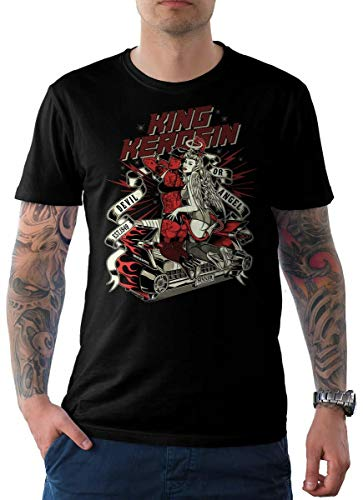King Kerosin Herren T-Shirt Schwarz Pin Up Edition 02-Devil and Angel S