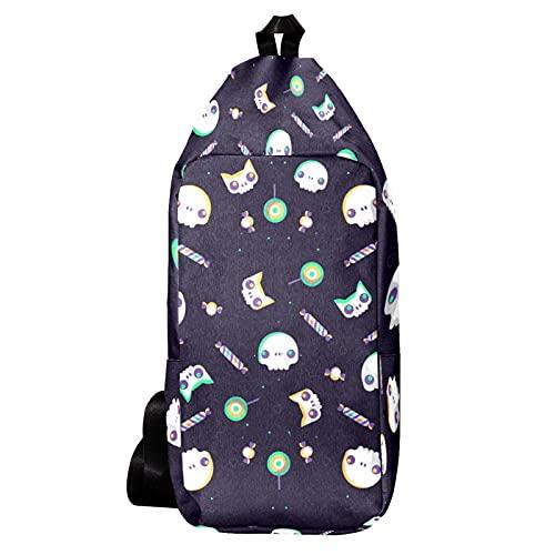 EZIOLY Halloween colorido fantasma cráneo patrón hombro mochila Sling bolsa Crossbody viaje senderismo mochila para hombres mujeres