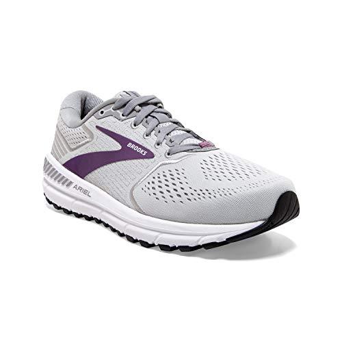 Brooks Womens Ariel '20 Running Shoe - Oyster/Alloy/Grape - B - 9