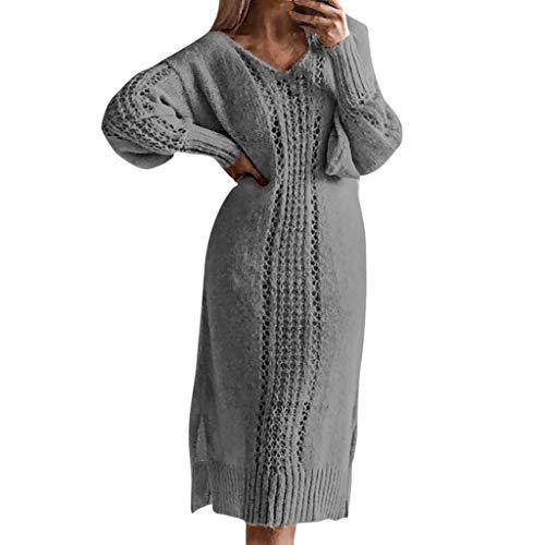 UFACE 2019 Damen Chiffon-Kleid Dreiviertelarm Shirtkleid Casual Spitzenkleid (S, 7332Schwarz)