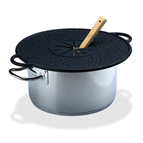 Relaxdays Überkochschutz Silikon, Spritzschutz & Untersetzer für Töpfe, hitzebeständig, pflegeleicht, 30 cm Ø, schwarz