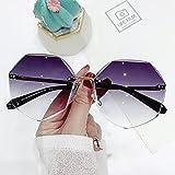 Aiong Gafas de Sol, Gafas de Sol de Gran tamaño sin Montura para Mujer Diseño Moda Dama Gafas de Sol Aleación clásica Clásico