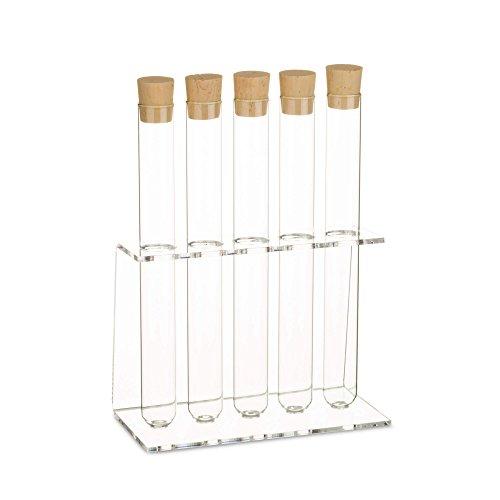 Tubo de ensayo de cristal con soporte de acrílico. Incluye tapón de corcho natural, 5-Loch Ø20mm +Glas