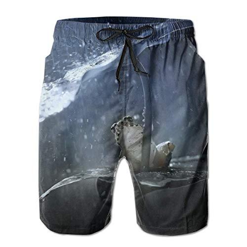 Love girl Quick Dry Herren Strandshorts Laubfrosch im Regen Mesh Futter Surfing Swim Board Trunks mit Taschen, Größe L.