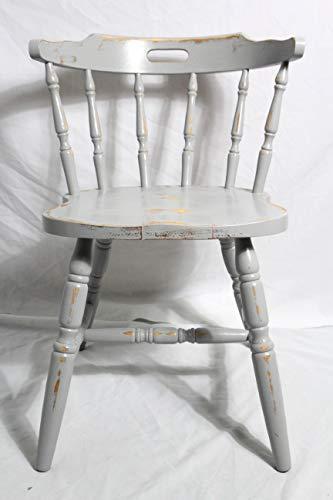 Shabby Stuhl alter grauer Armlehnenstuhl/Sprossenstuhl/Holzstuhl/Küchenstuhl grau 60er Jahre Vintage Möbel Shabby Chic Möbel Landhaus Country