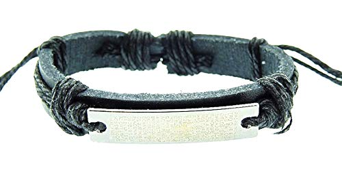 Heren armband - man - verstelbaar - armband - onze vader - kruisbeeld - leer - kunstleer - zwart - kerst - origineel cadeau idee