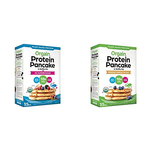 Orgain Protein Pancake amp Waffle Mix combo  50 Superfoods  Made with Mango Gluten Free  Made with Organic Rice Flour and Whole Wheat amp Oat  Made with Organic Rice Flour