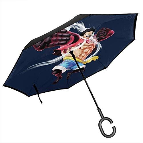 Monkey D Ruffy Gear 4 Einteiliger, doppelschichtiger, umgekehrter Regenschirm für umgeklappte Hände in C-Form - leicht & Winddicht & ndash