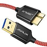 JSAUX Cable USB Micro B 3.0 2Pack[1M+2M] Tipo A a Micro B Macho 3.0 Cable de Disco Duro para Seagate, Toshiba Canvio, Western Digital (WD) My Passport and Elements, Samsung Galaxy S5, Note 3-Rojo