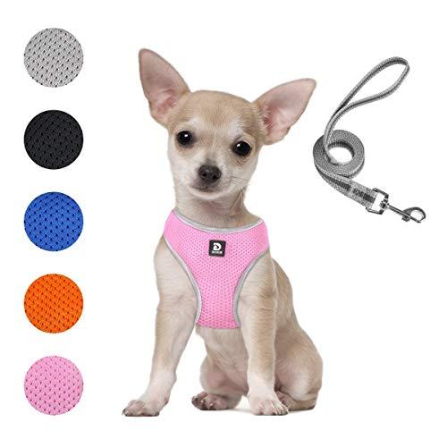 Dociote Hundegeschirr Mesh Brustgeschirr für kleine Hunde Welpen verstellbares & atmungsaktives & reflektierendes Welpengeschirr mit Leine Set für Spazieren und Training XS Rosa