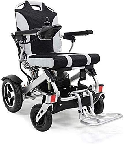 HZYDD Silla de Ruedas eléctrica, Plegable liviano eléctrico de scootes for sillas de Ruedas for sillas de Ruedas portátil (Gris + Marco de Plata. 250W)