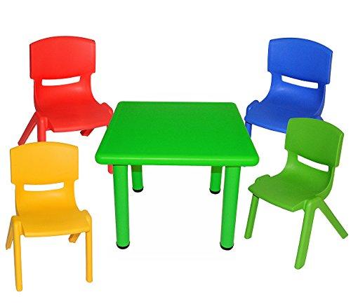 alles-meine.de GmbH 5 TLG. Set: Sitzgruppe - Tisch + 4 Kinderstühle - BUNT - stapelbar / kippsicher / bis 100 kg belastbar - für INNEN & AUßEN - Plastik / Kunststoff - Stuhl Stüh..